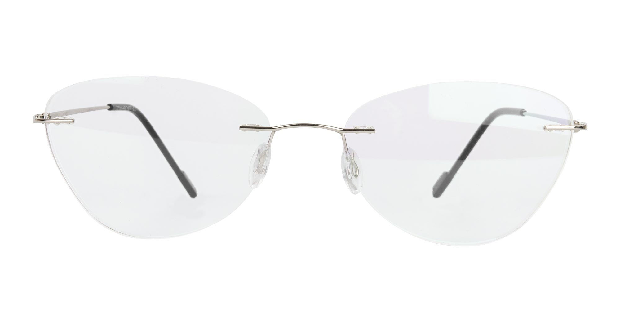 oval cat eye rimless glasses for square face shape