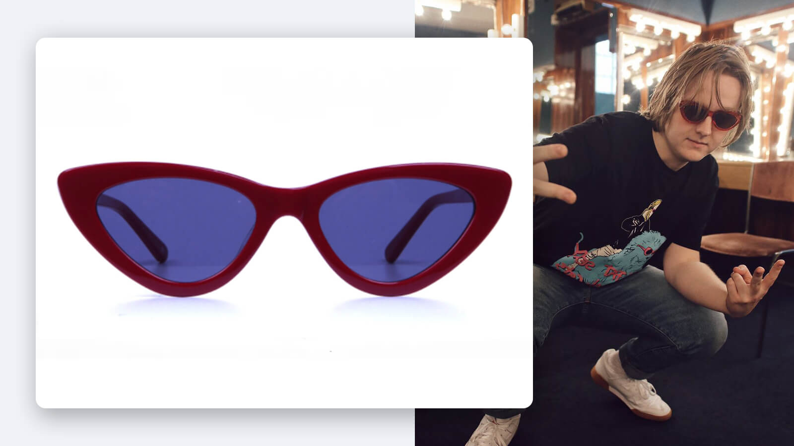 Bold and Beautiful: Lewis Capaldi Red Cat-eye Sunglasses