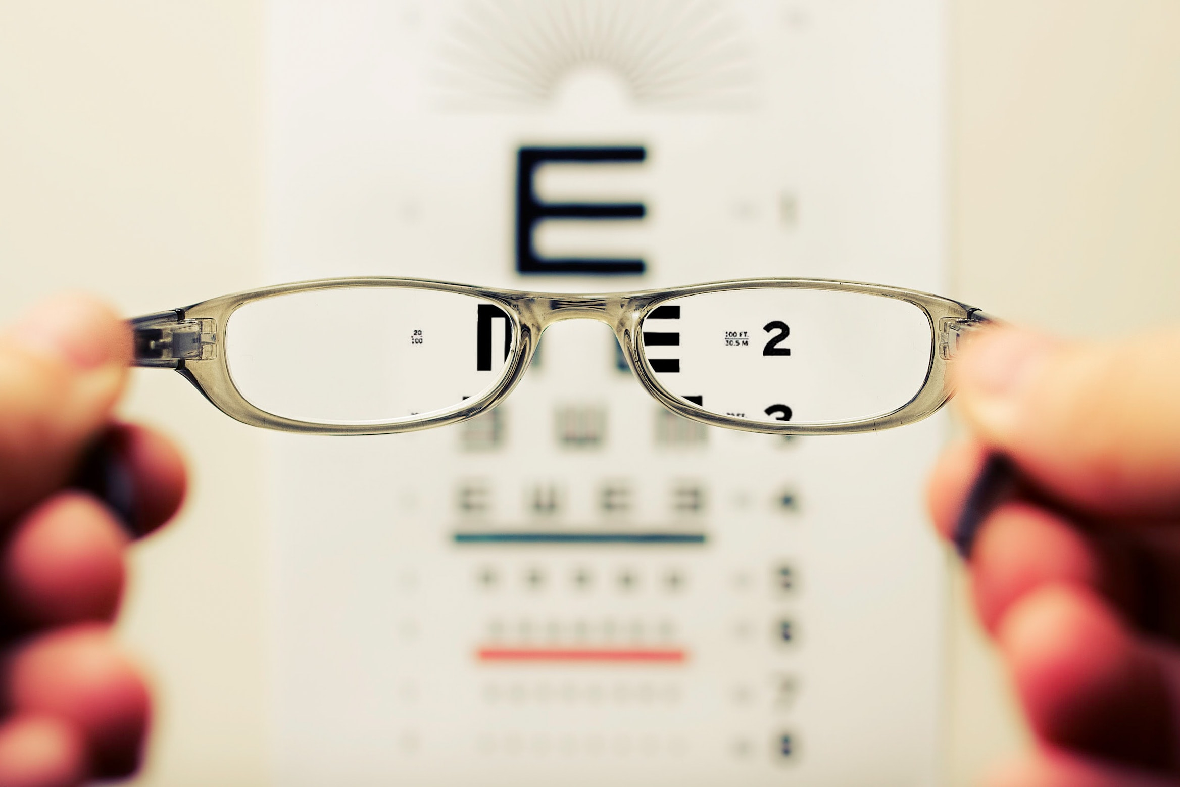 reading through glasses
