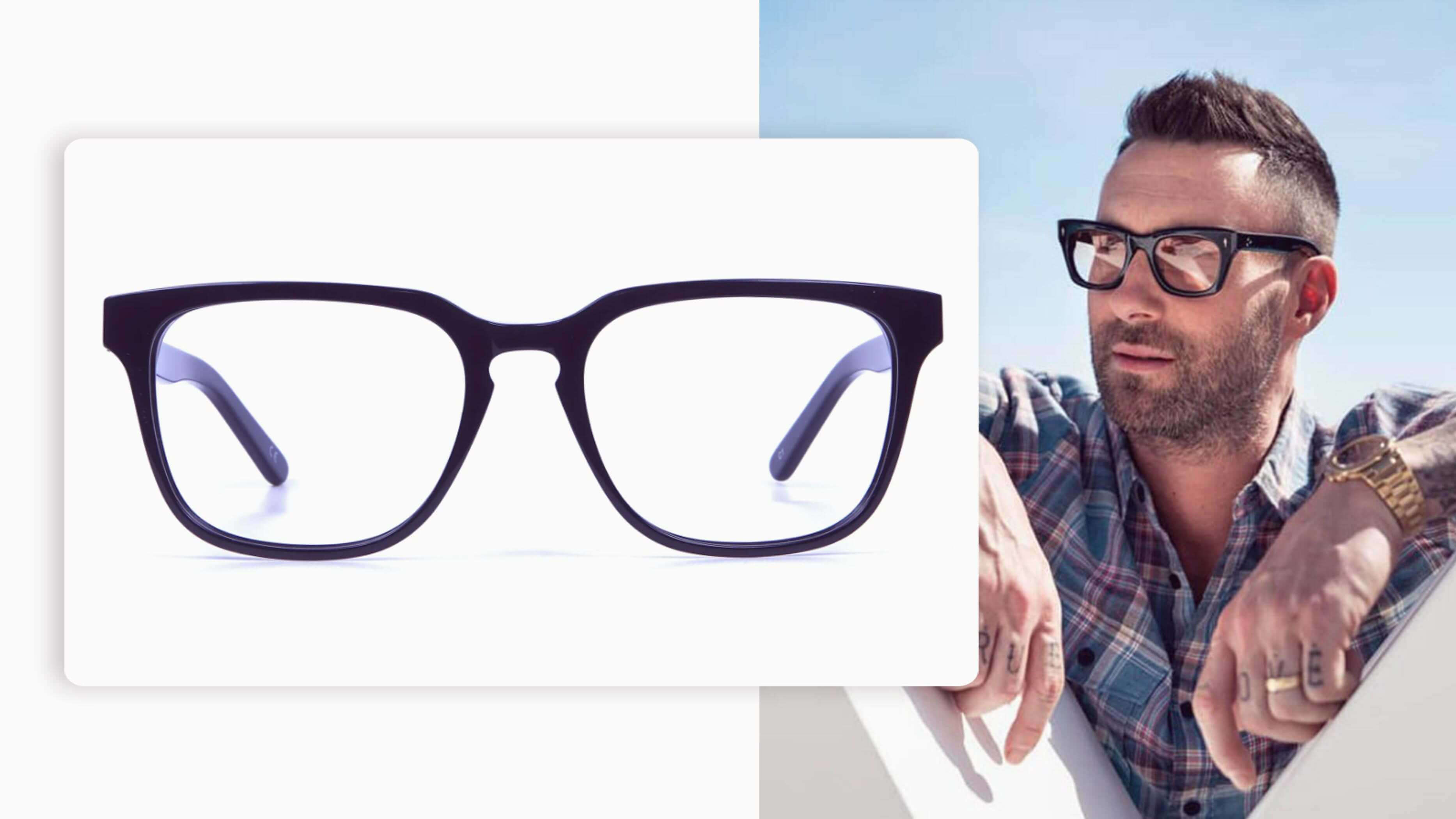 a pair with the same signature black thick rims and temples