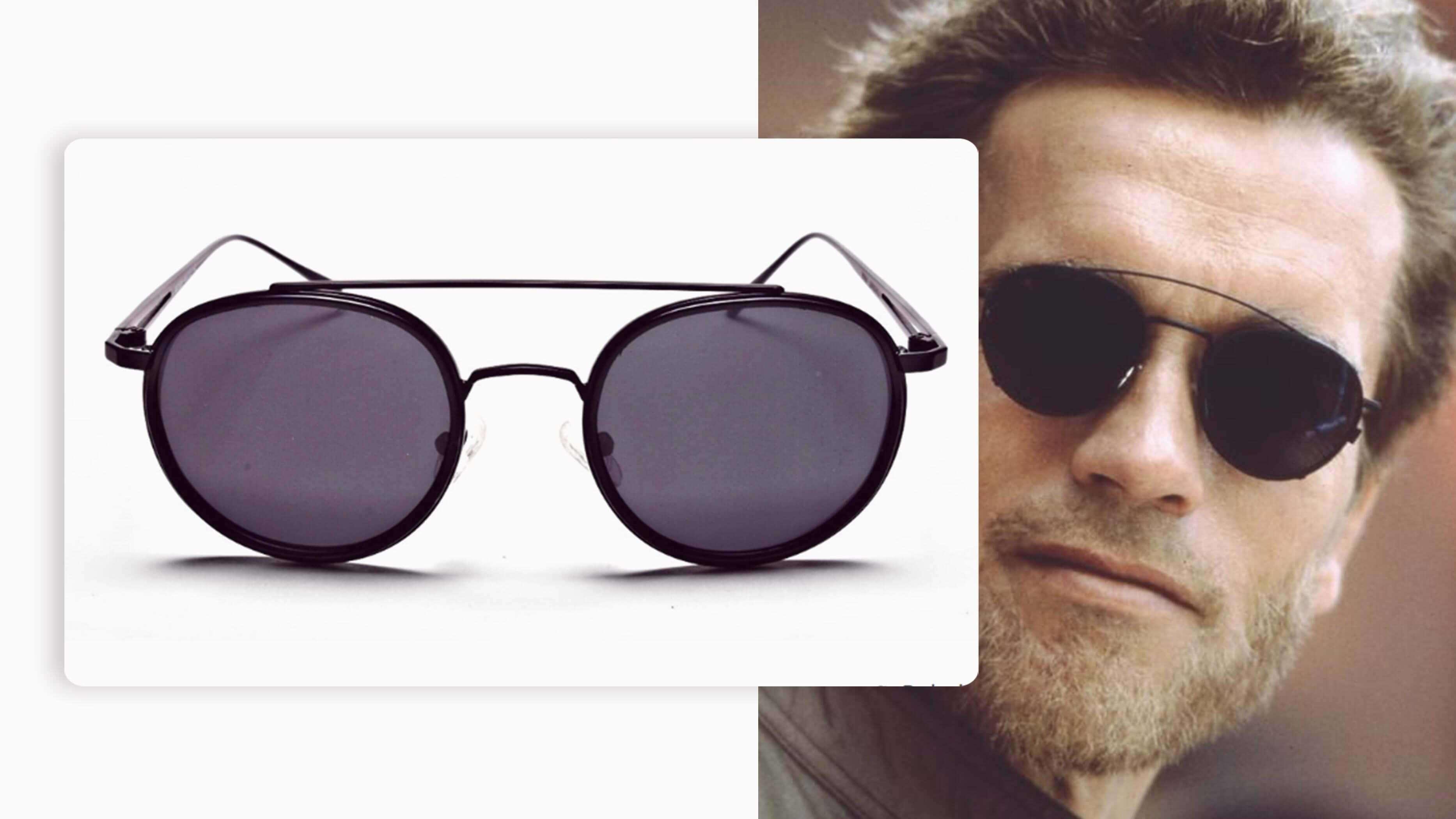 black pair of round sunglasses