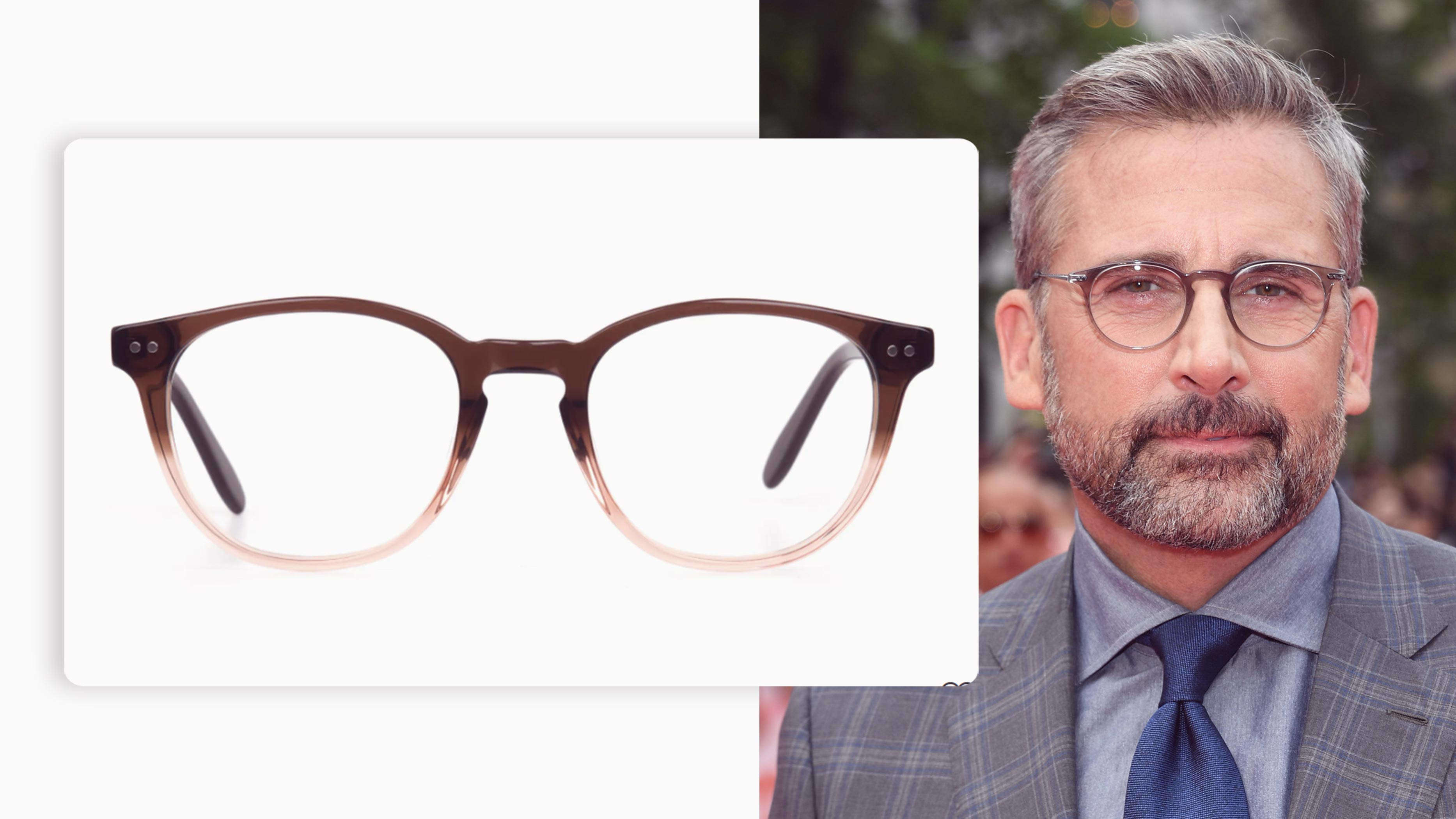 round pair of eyeglasses in mocha brown and crystal beige colour