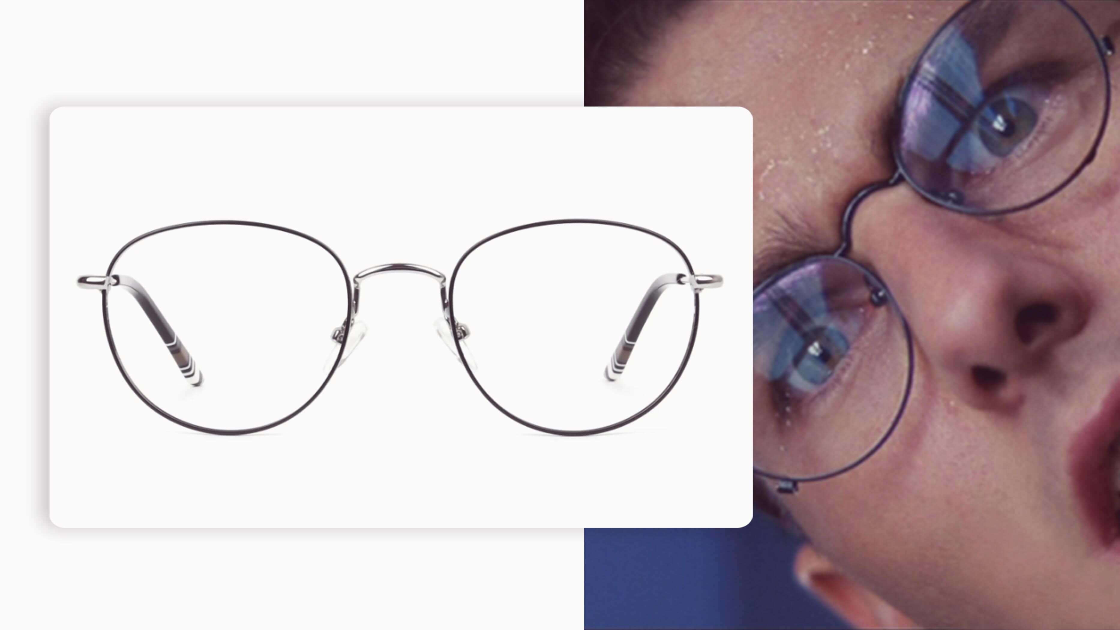 black and silver pair of round eyeglasses