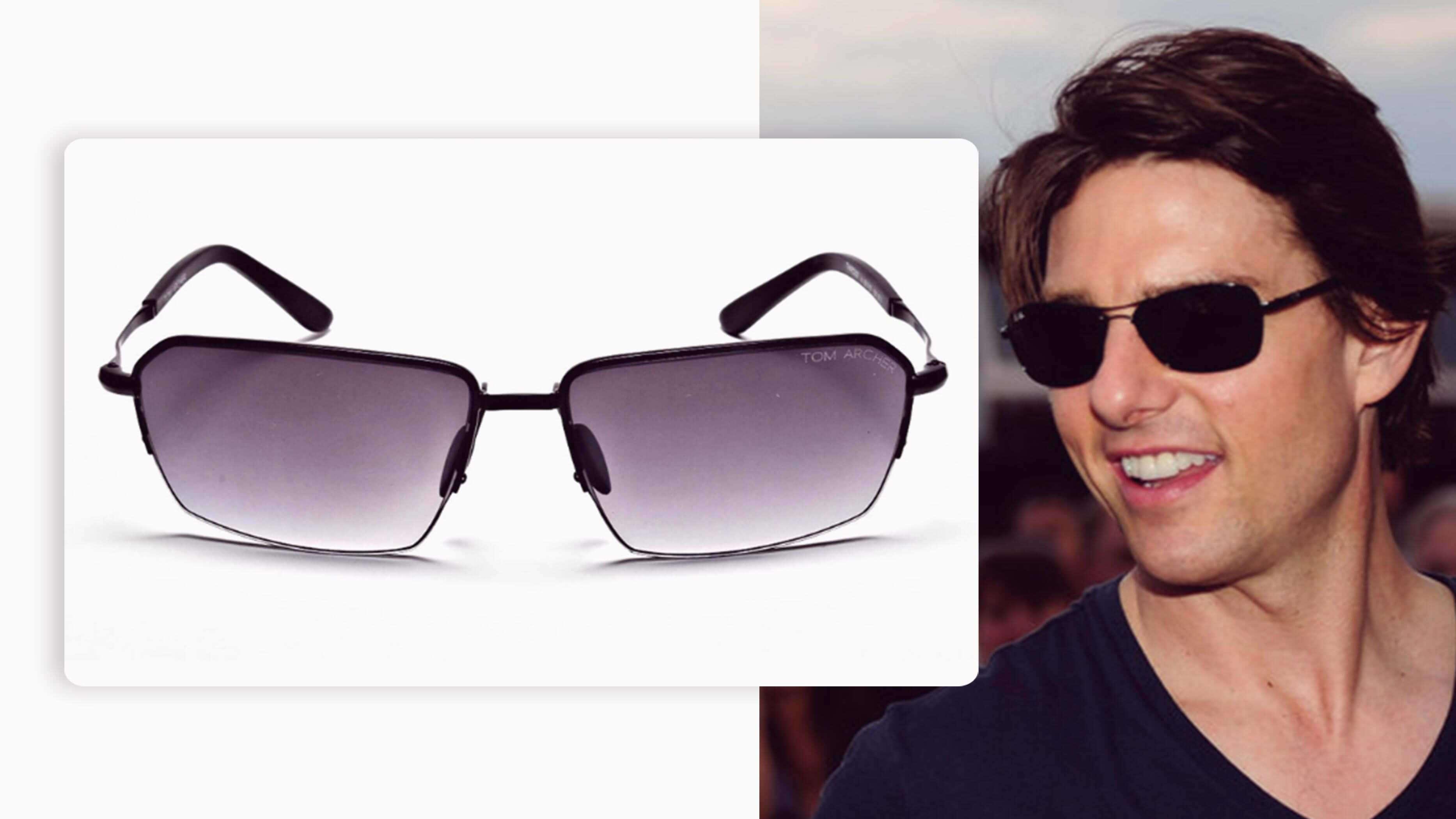 rectangular pair of black sunglasses with grey tints