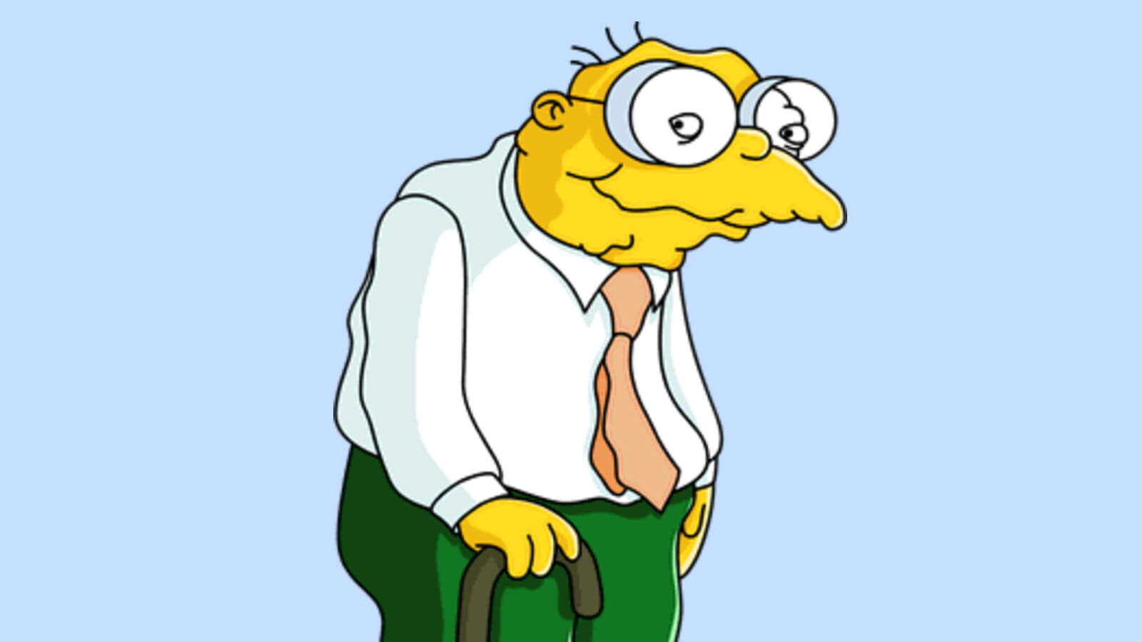 Hans Moleman from The Simpsons cartoon characters with glasses
