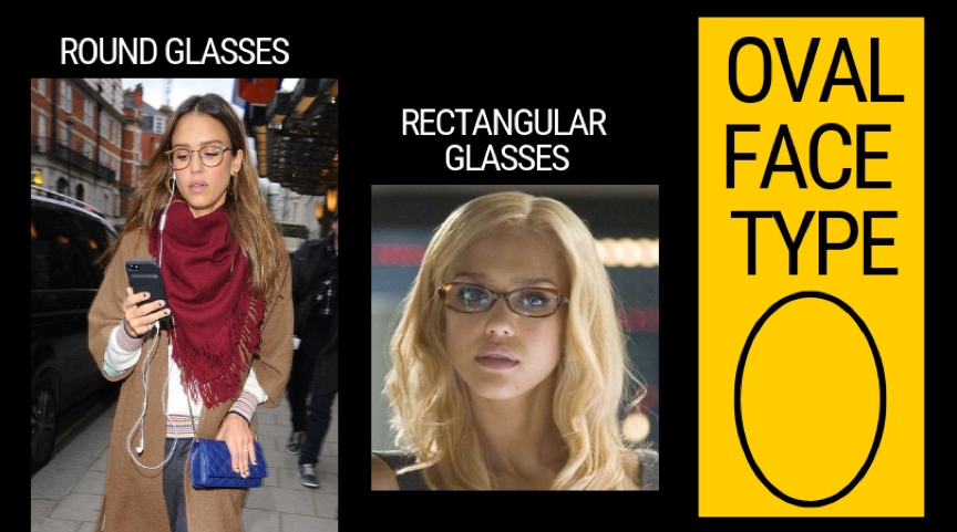 Glasses suitable for oval face