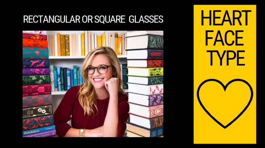 Heart-shaped face's choice of glasses