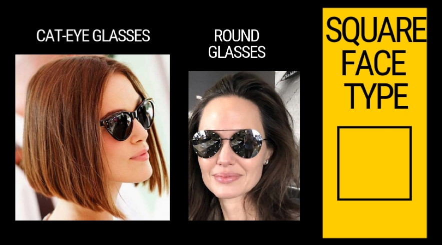 Square face's choice of glasses