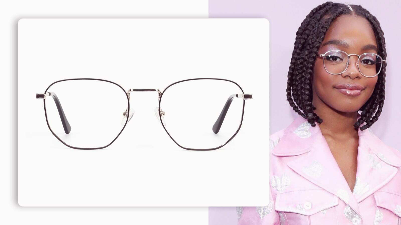 lightweight gold and brown geometric glasses