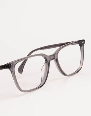 Grey Transparent Rectangular Glasses