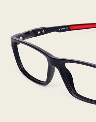 Sports Black Rectangular Glasses