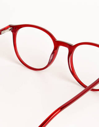 Dark Red Round Glasses