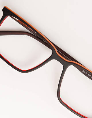 Black and Red Rectangular Glasses