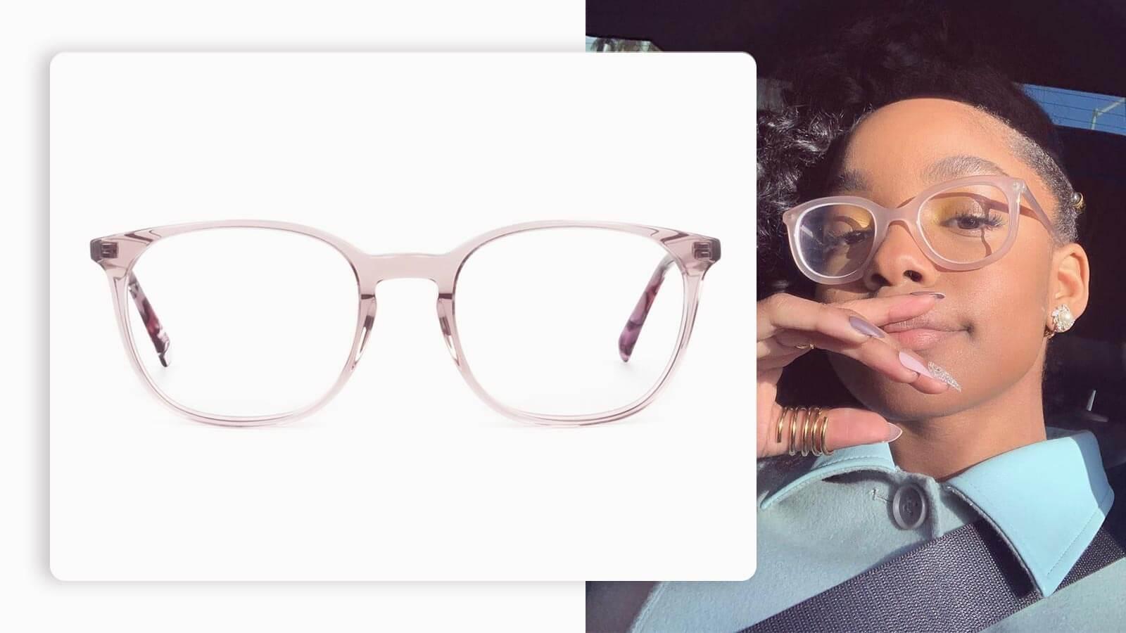 women wayfarer crystal pink eyeglasses