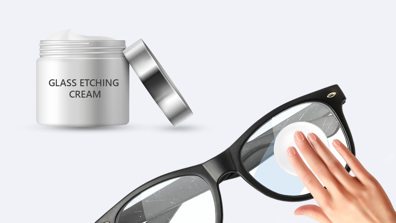 Remove scratches by using Glass Etching Cream