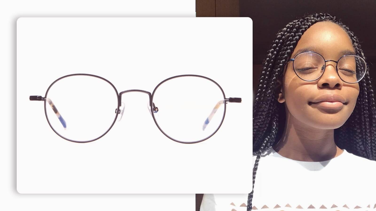 hackett black round glasses in metal