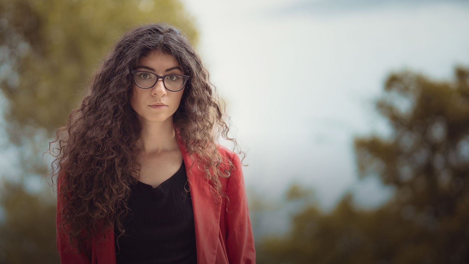 long hair style with glasses