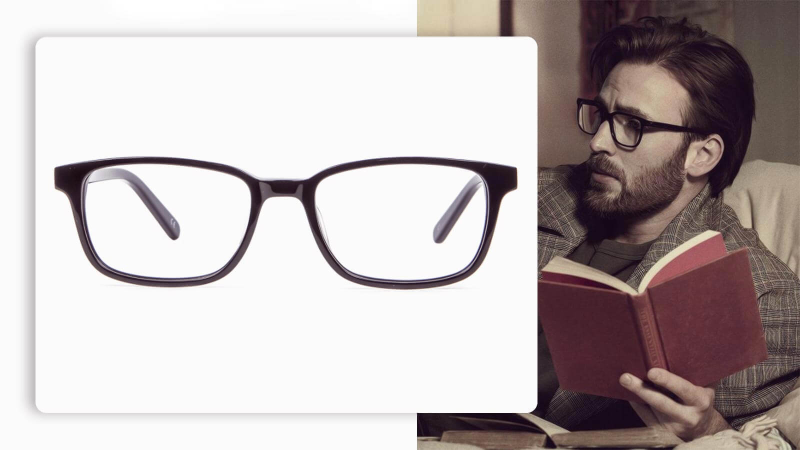 rectangular black frame glasses for round face