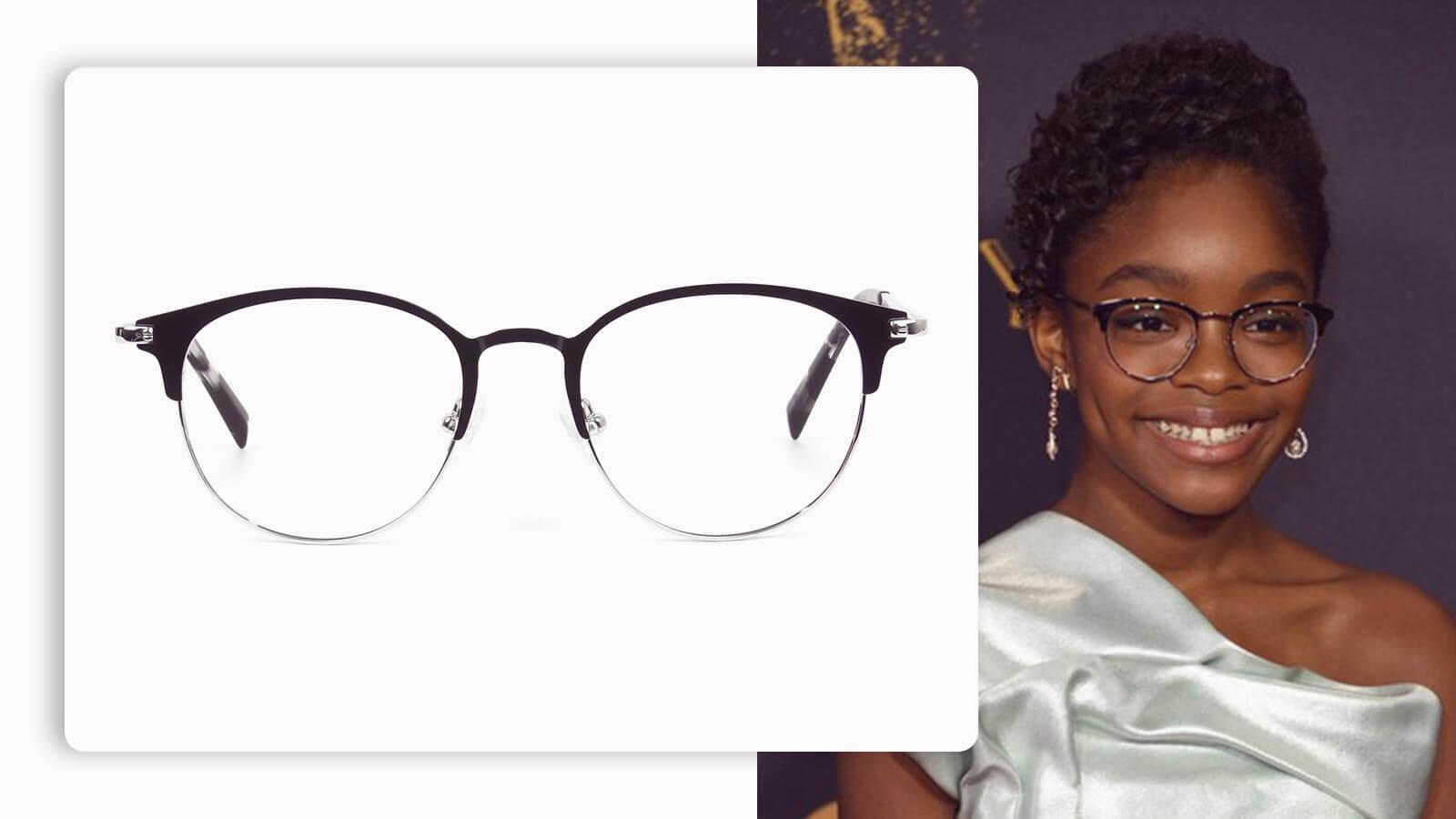 silver black keyhole browline glasses